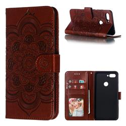 Intricate Embossing Datura Solar Leather Wallet Case for Xiaomi Mi 8 Lite / Mi 8 Youth / Mi 8X - Brown