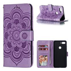 Intricate Embossing Datura Solar Leather Wallet Case for Xiaomi Mi 8 Lite / Mi 8 Youth / Mi 8X - Purple