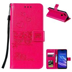Embossing Owl Couple Flower Leather Wallet Case for Xiaomi Mi 8 Lite / Mi 8 Youth / Mi 8X - Red
