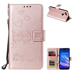 Embossing Owl Couple Flower Leather Wallet Case for Xiaomi Mi 8 Lite / Mi 8 Youth / Mi 8X - Rose Gold