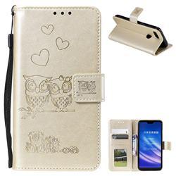 Embossing Owl Couple Flower Leather Wallet Case for Xiaomi Mi 8 Lite / Mi 8 Youth / Mi 8X - Golden