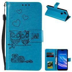 Embossing Owl Couple Flower Leather Wallet Case for Xiaomi Mi 8 Lite / Mi 8 Youth / Mi 8X - Blue