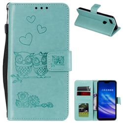Embossing Owl Couple Flower Leather Wallet Case for Xiaomi Mi 8 Lite / Mi 8 Youth / Mi 8X - Green
