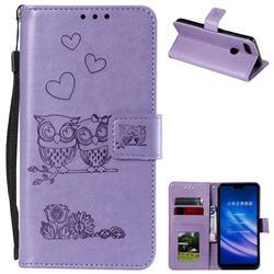 Embossing Owl Couple Flower Leather Wallet Case for Xiaomi Mi 8 Lite / Mi 8 Youth / Mi 8X - Purple