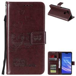Embossing Owl Couple Flower Leather Wallet Case for Xiaomi Mi 8 Lite / Mi 8 Youth / Mi 8X - Brown