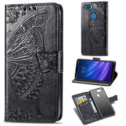 Embossing Mandala Flower Butterfly Leather Wallet Case for Xiaomi Mi 8 Lite / Mi 8 Youth / Mi 8X - Black
