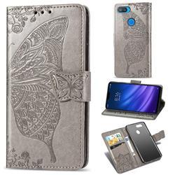 Embossing Mandala Flower Butterfly Leather Wallet Case for Xiaomi Mi 8 Lite / Mi 8 Youth / Mi 8X - Gray