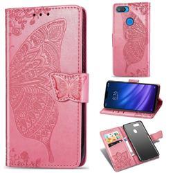 Embossing Mandala Flower Butterfly Leather Wallet Case for Xiaomi Mi 8 Lite / Mi 8 Youth / Mi 8X - Pink