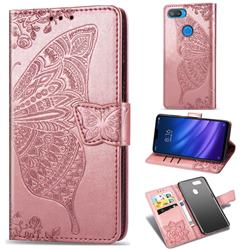 Embossing Mandala Flower Butterfly Leather Wallet Case for Xiaomi Mi 8 Lite / Mi 8 Youth / Mi 8X - Rose Gold
