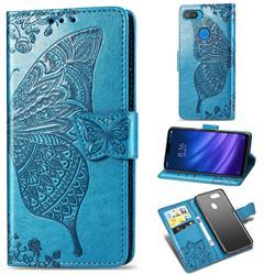 Embossing Mandala Flower Butterfly Leather Wallet Case for Xiaomi Mi 8 Lite / Mi 8 Youth / Mi 8X - Blue
