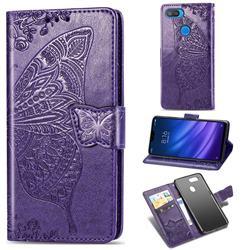 Embossing Mandala Flower Butterfly Leather Wallet Case for Xiaomi Mi 8 Lite / Mi 8 Youth / Mi 8X - Dark Purple