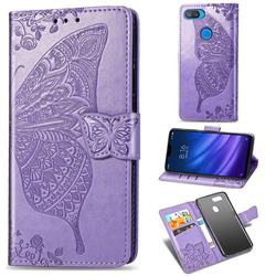 Embossing Mandala Flower Butterfly Leather Wallet Case for Xiaomi Mi 8 Lite / Mi 8 Youth / Mi 8X - Light Purple