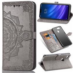 Embossing Imprint Mandala Flower Leather Wallet Case for Xiaomi Mi 8 Lite / Mi 8 Youth / Mi 8X - Gray