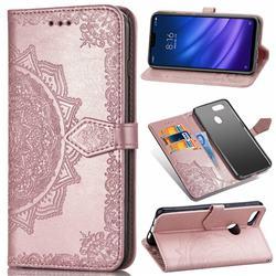 Embossing Imprint Mandala Flower Leather Wallet Case for Xiaomi Mi 8 Lite / Mi 8 Youth / Mi 8X - Rose Gold