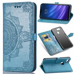 Embossing Imprint Mandala Flower Leather Wallet Case for Xiaomi Mi 8 Lite / Mi 8 Youth / Mi 8X - Blue