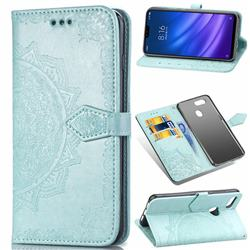 Embossing Imprint Mandala Flower Leather Wallet Case for Xiaomi Mi 8 Lite / Mi 8 Youth / Mi 8X - Green