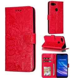 Intricate Embossing Lace Jasmine Flower Leather Wallet Case for Xiaomi Mi 8 Lite / Mi 8 Youth / Mi 8X - Red