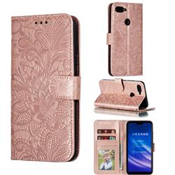 Intricate Embossing Lace Jasmine Flower Leather Wallet Case for Xiaomi Mi 8 Lite / Mi 8 Youth / Mi 8X - Rose Gold