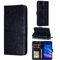 Intricate Embossing Lace Jasmine Flower Leather Wallet Case for Xiaomi Mi 8 Lite / Mi 8 Youth / Mi 8X - Dark Blue