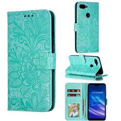 Intricate Embossing Lace Jasmine Flower Leather Wallet Case for Xiaomi Mi 8 Lite / Mi 8 Youth / Mi 8X - Green