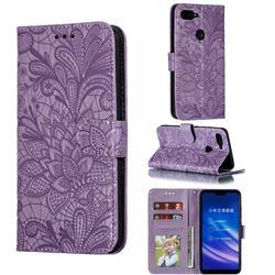 Intricate Embossing Lace Jasmine Flower Leather Wallet Case for Xiaomi Mi 8 Lite / Mi 8 Youth / Mi 8X - Purple