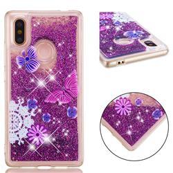 Purple Flower Butterfly Dynamic Liquid Glitter Quicksand Soft TPU Case for Xiaomi Mi 8 SE