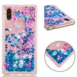 Blue Plum Blossom Dynamic Liquid Glitter Quicksand Soft TPU Case for Xiaomi Mi 8 SE