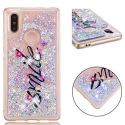 Smile Flower Dynamic Liquid Glitter Quicksand Soft TPU Case for Xiaomi Mi 8 SE