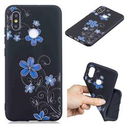 Little Blue Flowers 3D Embossed Relief Black TPU Cell Phone Back Cover for Xiaomi Mi 8 SE