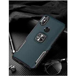 Knight Armor Anti Drop PC + Silicone Invisible Ring Holder Phone Cover for Xiaomi Mi 8 SE - Navy