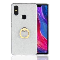 Luxury Soft TPU Glitter Back Ring Cover with 360 Rotate Finger Holder Buckle for Xiaomi Mi 8 SE - White