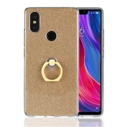 Luxury Soft TPU Glitter Back Ring Cover with 360 Rotate Finger Holder Buckle for Xiaomi Mi 8 SE - Golden