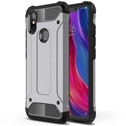 King Kong Armor Premium Shockproof Dual Layer Rugged Hard Cover for Xiaomi Mi 8 SE - Silver Grey