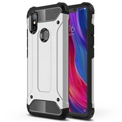 King Kong Armor Premium Shockproof Dual Layer Rugged Hard Cover for Xiaomi Mi 8 SE - Technology Silver