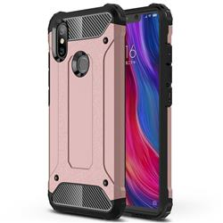 King Kong Armor Premium Shockproof Dual Layer Rugged Hard Cover for Xiaomi Mi 8 SE - Rose Gold
