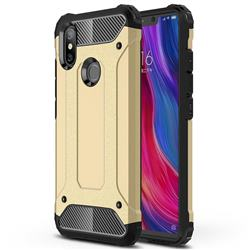 King Kong Armor Premium Shockproof Dual Layer Rugged Hard Cover for Xiaomi Mi 8 SE - Champagne Gold
