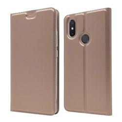Ultra Slim Card Magnetic Automatic Suction Leather Wallet Case for Xiaomi Mi 8 SE - Rose Gold