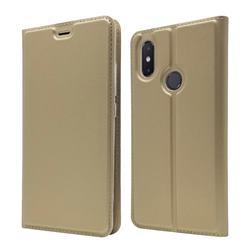 Ultra Slim Card Magnetic Automatic Suction Leather Wallet Case for Xiaomi Mi 8 SE - Champagne