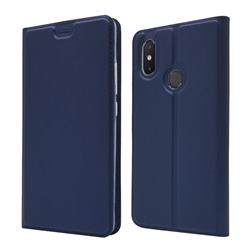 Ultra Slim Card Magnetic Automatic Suction Leather Wallet Case for Xiaomi Mi 8 SE - Royal Blue