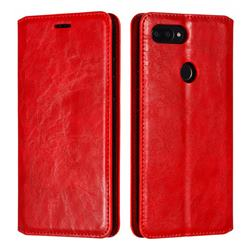 Retro Slim Magnetic Crazy Horse PU Leather Wallet Case for Xiaomi Mi 8 SE - Red