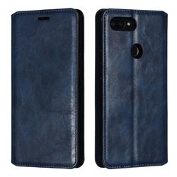 Retro Slim Magnetic Crazy Horse PU Leather Wallet Case for Xiaomi Mi 8 SE - Blue