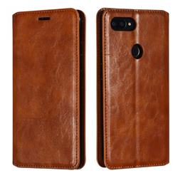Retro Slim Magnetic Crazy Horse PU Leather Wallet Case for Xiaomi Mi 8 SE - Brown