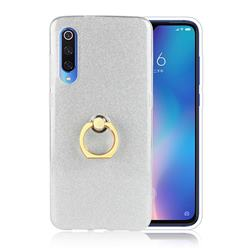 Luxury Soft TPU Glitter Back Ring Cover with 360 Rotate Finger Holder Buckle for Xiaomi Mi 9 - White