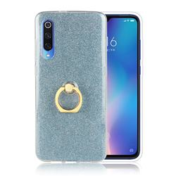 Luxury Soft TPU Glitter Back Ring Cover with 360 Rotate Finger Holder Buckle for Xiaomi Mi 9 - Blue