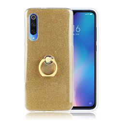 Luxury Soft TPU Glitter Back Ring Cover with 360 Rotate Finger Holder Buckle for Xiaomi Mi 9 - Golden