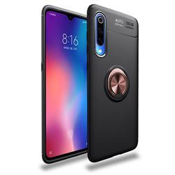 Auto Focus Invisible Ring Holder Soft Phone Case for Xiaomi Mi 9 - Black Gold
