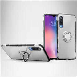 Armor Anti Drop Carbon PC + Silicon Invisible Ring Holder Phone Case for Xiaomi Mi 9 - Silver