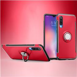 Armor Anti Drop Carbon PC + Silicon Invisible Ring Holder Phone Case for Xiaomi Mi 9 - Red