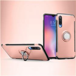 Armor Anti Drop Carbon PC + Silicon Invisible Ring Holder Phone Case for Xiaomi Mi 9 - Rose Gold