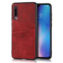 Simple Calf Card Slots Mobile Phone Back Cover for Xiaomi Mi 9 - Red